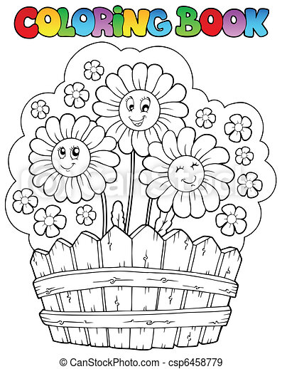 Coloring book with daisies - csp6458779