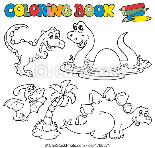 Coloring book with dinosaurs 1 - csp4788871
