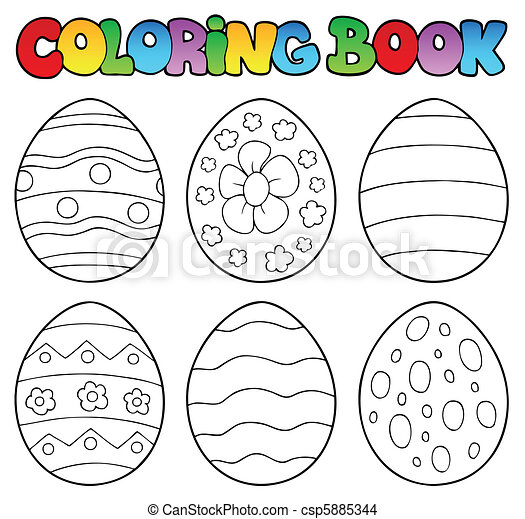 Coloring Book With Easter Eggs - Vector Illustration. CanStock