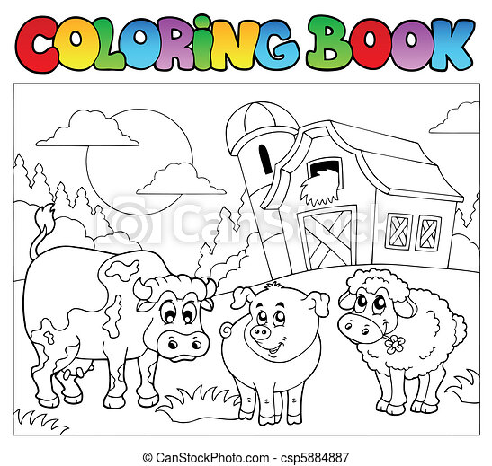 Coloring Book With Farm Animals 3 Vector Illustration