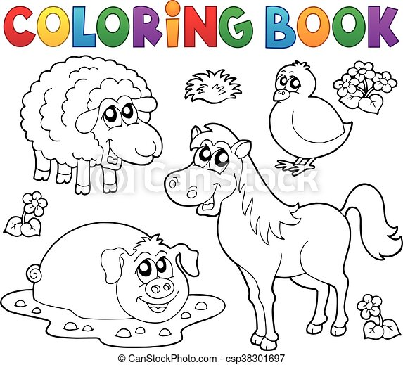 Coloring book with farm animals 4 - csp38301697