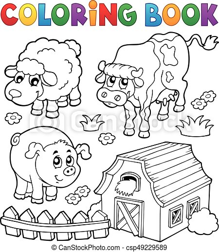 Coloring book with farm animals 6 - csp49229589