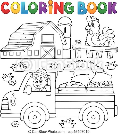 Coloring book with farm truck - csp45407019