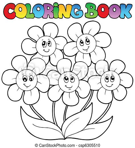 Coloring book with five flowers - vector illustration. vector ...