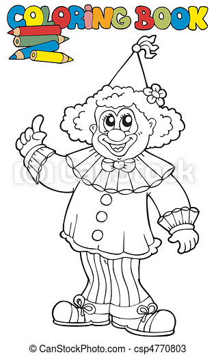 Coloring book with funny clown - csp4770803