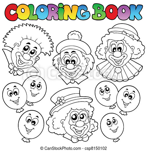 Coloring book with funny clowns - csp8150102
