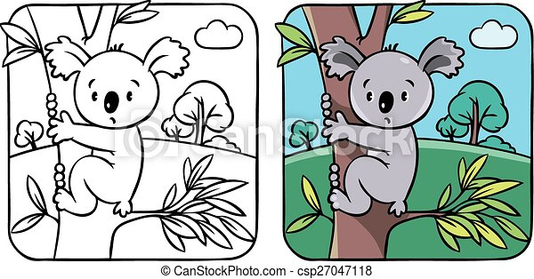 Coloring book with funny koala - csp27047118