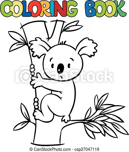 Coloring book with funny koala - csp27047119