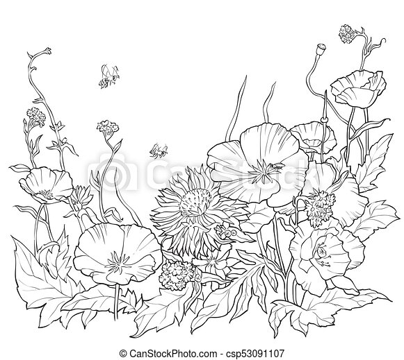 Coloring Book With Hand Drawn Flowers Black And White Illustration