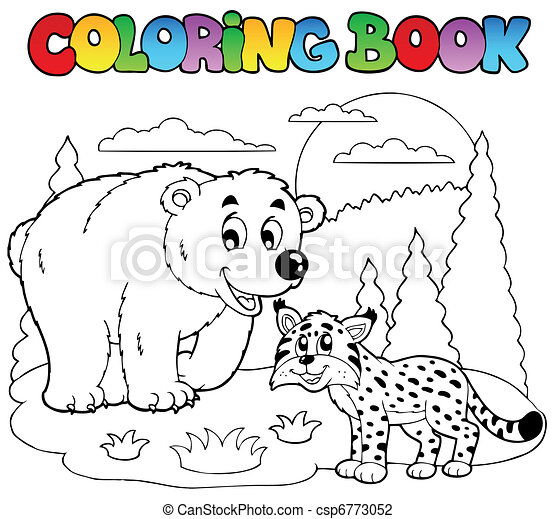 Coloring book with happy animals 4 - csp6773052