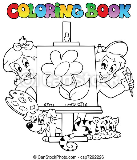 Coloring book with kids and canvas - csp7292226