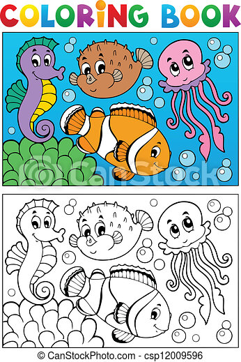 Coloring book with marine animals 4 - csp12009596