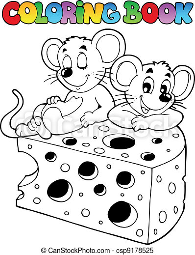 coloring book with mouse 1 vector