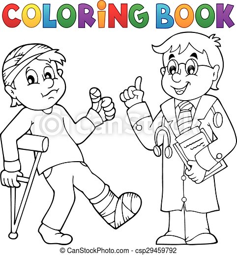 Coloring book with patient and doctor - csp29459792