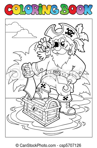 Coloring book with pirate scene 1 - csp5707126