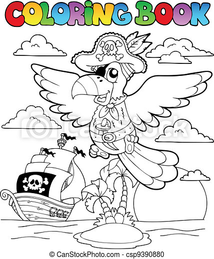 Coloring book with pirate theme 2 - csp9390880