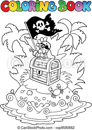 Coloring book with pirate topic 3 - csp9590662