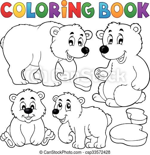 Coloring book with polar bears - csp33572428