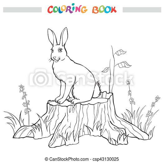 Coloring book with rabbit on the stump, flower and grass. - csp43130025