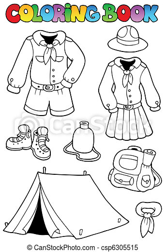 Coloring book with scout clothes - csp6305515