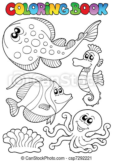 Coloring book with sea animals 3 - csp7292221