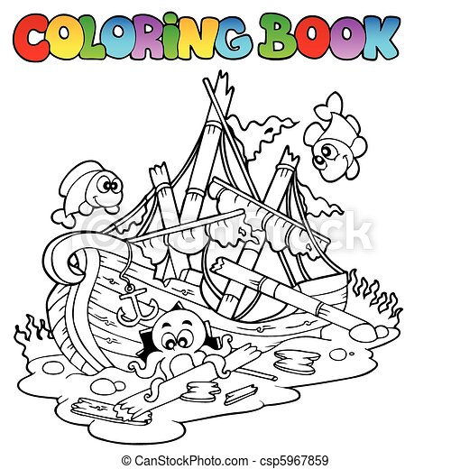 Coloring book with shipwreck - csp5967859
