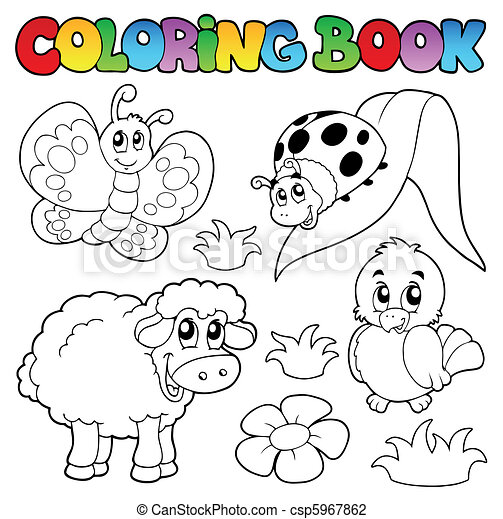 Coloring book with spring animals - csp5967862