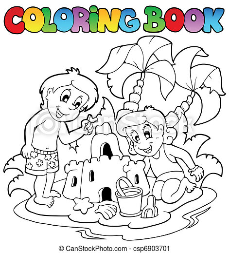 Coloring book with summer theme 1 - csp6903701