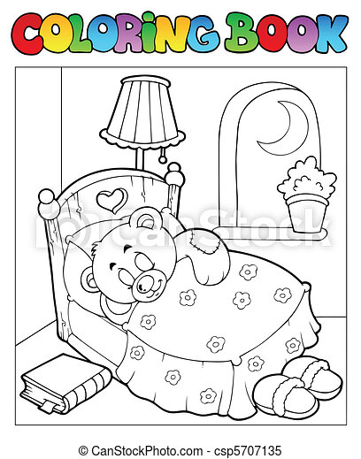 Coloring book with teddy bear 1 - csp5707135