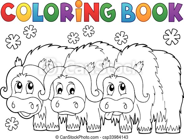 Coloring book with three muskoxen - csp33984143