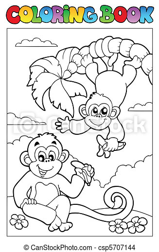 Coloring book with two monkeys - csp5707144