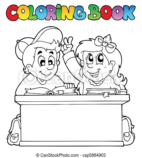 Coloring book with two pupils - csp5884903