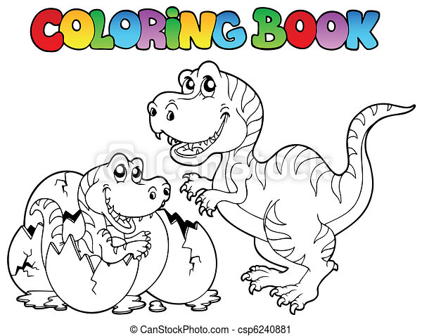 Coloring book with tyrannosaurus - csp6240881