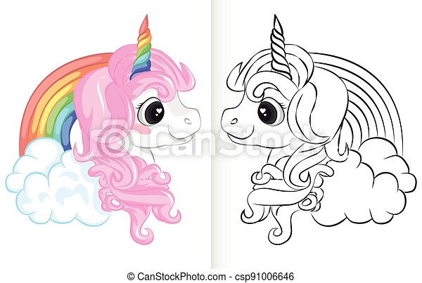 Coloring book with unicorn and rainbow cartoon - csp91006646