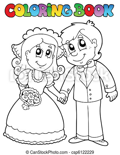 Coloring book with wedding couple - csp6122229