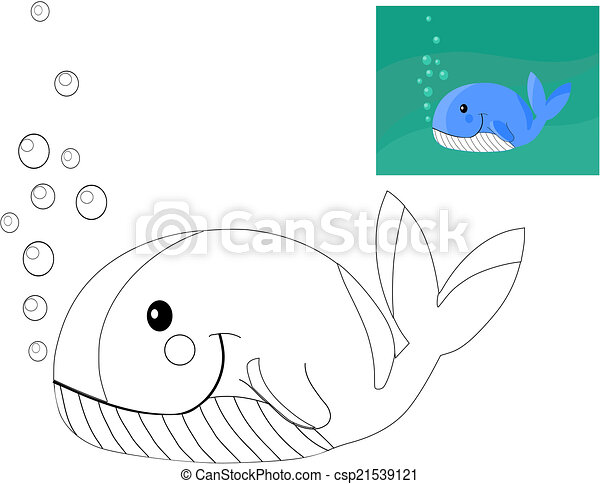 Coloring book with whale. - csp21539121
