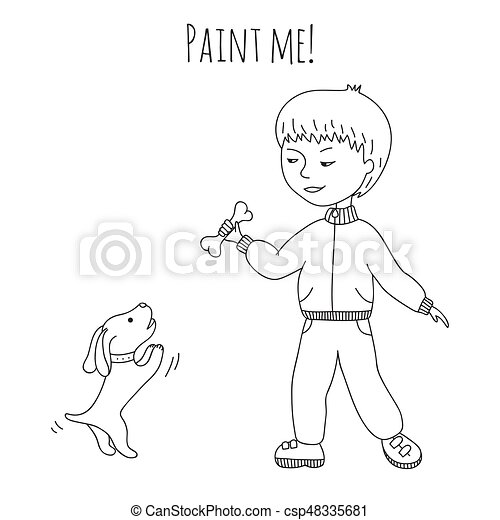 Coloring boy and dog - csp48335681