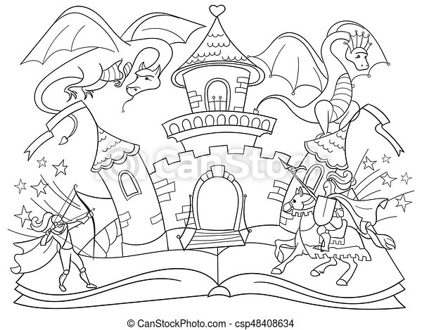Coloring fairy open book tale concept kids illustration with evil dragon, brave warrior and magic castle. - csp48408634