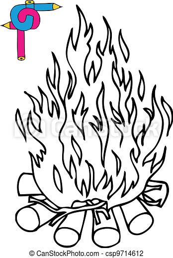 Coloring image campfire - csp9714612