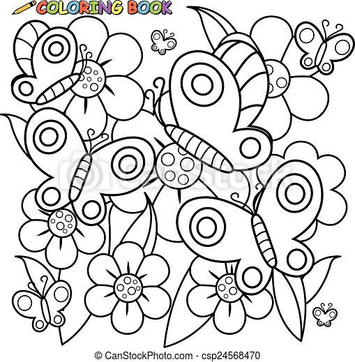 Coloring page butterflies flowers. Illustration of a black ...
