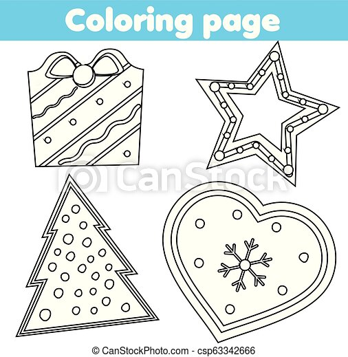 Coloring Page Educational Game For Children Color Christmas Cookies Drawing Kids Printable Activity New Year Holidays Theme