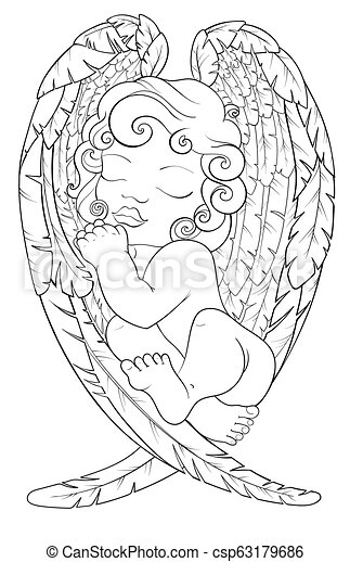 Coloring Page For Adult Kids Coloring Book Notebook With Sleeping Baby Angel On His Wings Christmas Boy Black And White Pattern For Your Design