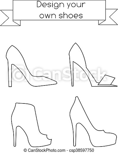 Coloring Page For Children And Adults Fashion Magazine Kids Activity Sheet Drawing Game With Shoes Coloring Page For