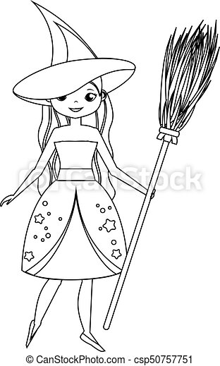 Halloween Witch on a Broom coloring page | Free Printable Coloring ... | 470x281