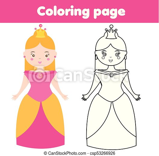 Coloring Page For Children Princess Drawing Kids Game Printable Activity Coloring Page Cute Princess Color The Picture