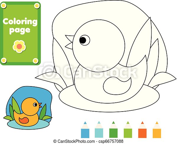 Coloring Page For Kids. Duck In Water. Drawing Game Activity. Printable Fun  For Toddlers And Children. Animals Theme. CanStock