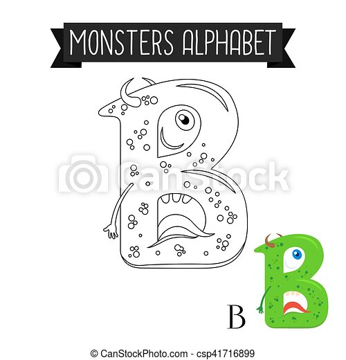Coloring Page Monsters Alphabet Letter B