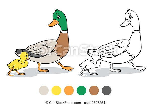 Coloring Page Mother Duck And Duckling Coloring Book Or Page Mother Duck And Ducklings Mallard Duck And Baby Ducklings Canstock