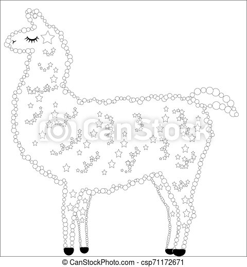 Coloring Page Of Cartoon Lama. Illustration, Coloring Book For ... | 470x432