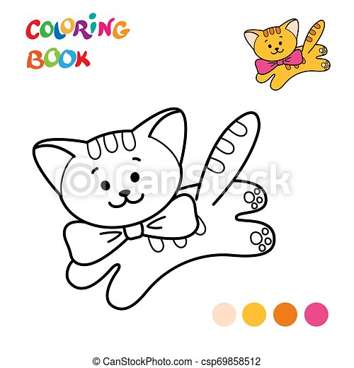 Coloring Page Outline Of cartoon cat.